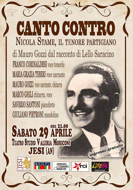 Canto Contro: spettacolo dedicato al tenore partigiano Nicola Stame